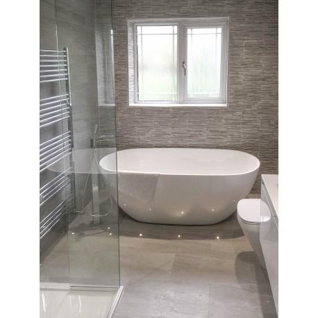 Strata Grey Tiled bathroom - finishing touches